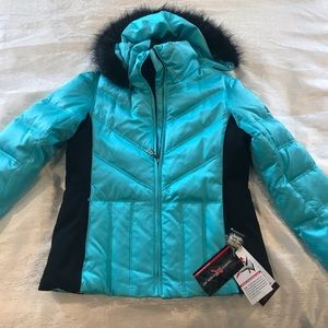 Aqua, removable hood winter coat
